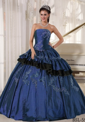 2014 Popular Strapless Puffy Beading Navy Blue Quinceanera Gowns