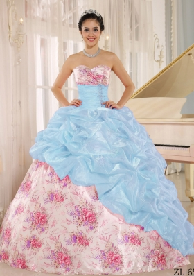 2014 Printing Sweetheart Beading Quinceanera Dresses For Custom Made