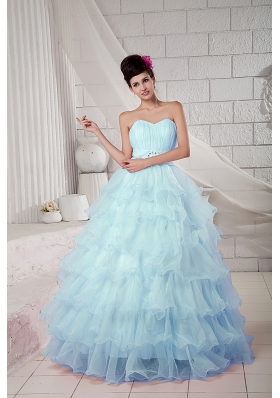 2014 Puffy Sweetheart Beading Quinceanea Dresses with Ruffles