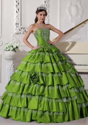 2014 Puffy Sweetheart Ruffled Layers and Embroidery for Green Quinceanera Dresses