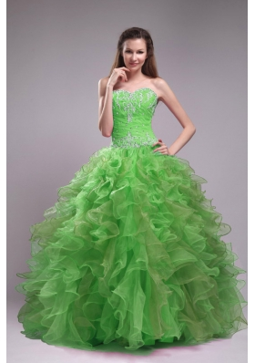 2014 Spring Green Puffy Sweetheart Appliques Quinceanera Dress with Ruffles