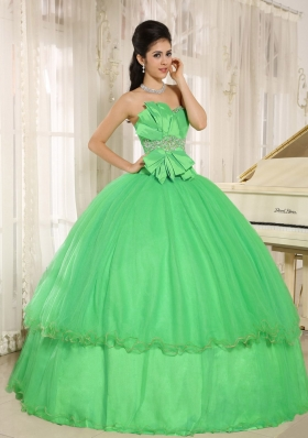 Beaded Bowknot For Green Quinceanera Dress Custom Made