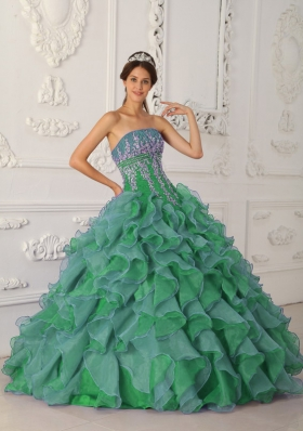 Brand New Puffy Strapless Decorate for 2014 Quinceanera Dress with Beading and Appliques