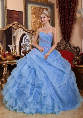 Cute Light Blue Puffy Sweetheart Appliques and Ruching 2014 Quinceanera Dresses