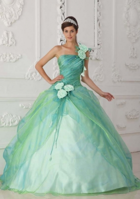 Cute Puffy One Shoulder with Beading and Hand Made Flowers For Quinceanera Dress