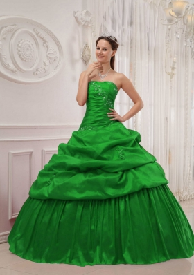 Cute Puffy Strapless for 2014 Green Quinceanera Dress with Pick-ups