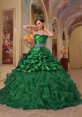 Dark Green Puffy Sweetheart with Pick-ups and Beading for 2014 Quinceanera Dress