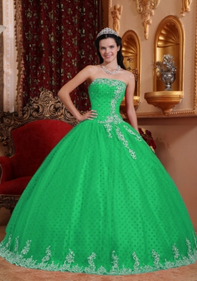 Elegant Ball Gown Strapless for 2014 Lace Appliques Quinceanera Dress in Green