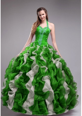 Elegant Green Puffy Halter for 2014 Quinceanera Dress with Applqiues and Ruffles