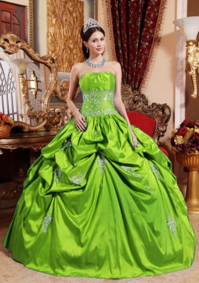Elegant Puffy Strapless with Pick-ups and Appliques Decorate for 2014 Green Quinceanera Dress