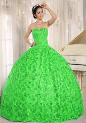 Embroidery and Sequins On Tulle Sweetheart Green Quinceanera Dress for 2014