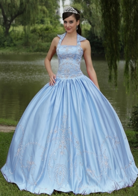 Exclusive Light Blue 2014 Beaded Decorate Quinceanera Dresses