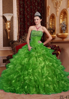 Exclusive Puffy Strapless with Ruffles and Beading for 2014 Green Quinceanera Dress
