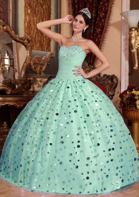 Fashionbale Puffy Sweetheart with Sequins Quinceanera Dress for 2014