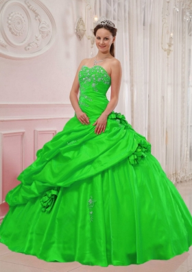 Gorgeous Puffy Sweetheart with Pick-ups and Appliques Decorate for 2014 Green Quinceanera Dress