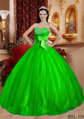 Green Puffy Sweetheart for 2014 Beading Quinceanera Dress with Bow