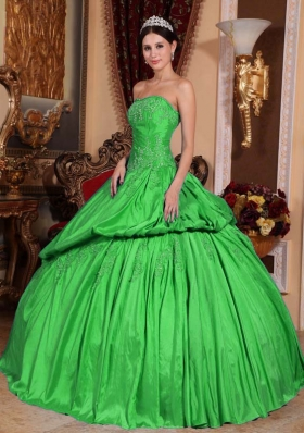 Inexpensive Spring Green Puffy Strapless Beading Decorate for 2014 Quinceanera Dress