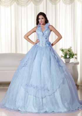 Light Blue Puffy Halter Embroidery and Beading 2014 Quinceanera Dresses