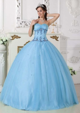 Lovely Light Blue Sweetheart Appliques Beading 2014 Quinceanera Dresses