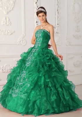 New Style Puffy Strapless Embroidery for 2014 Turquoise Quinceanera Dress
