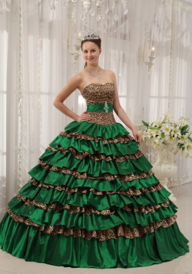 Perfect Puffy Sweetheart with Layers Decorate for 2014 Turquoise Quinceanera Dress