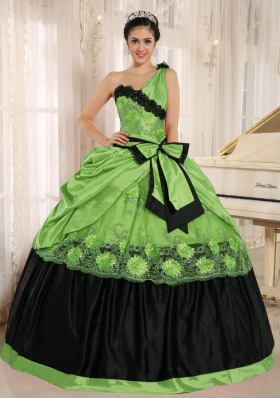 Pretty One Shoulder For 2014 Appliques for Green Quinceanera Dress with Bowknot