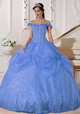 Puffy Off The Shoulder Appliques 2014 Spring Quinceanera Dresses