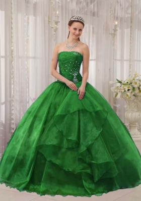 Puffy Strapless with Appliques and Beading 2014 Green Quinceanera Dress