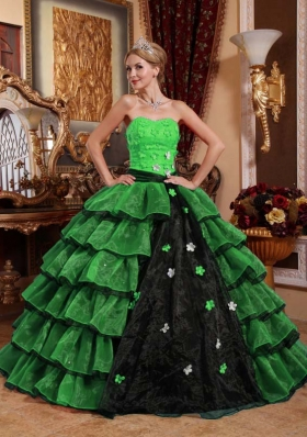 Puffy Strapless with Ruffled Layers and Appliques for 2014 Green and Black Quinceanera Dress