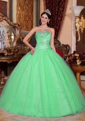 Puffy Sweetheart with Beading and Ruching for 2014 Green Quinceanera Dress