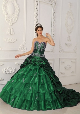 Romantic Dark Green Puffy Sweetheart with Layers and Appliques for 2014 Quinceanera Dress