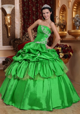 Romantic Puffy Strapless with Pick-ups and Appliques for 2014 Green Quinceanera Dress