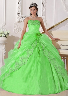 Spring Green Puffy Strapless with Lace Embroidery and Beading Quinceanera Dress for 2014