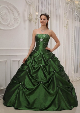 Sweet Hunter Green Puffy Strapless with Pick-ups and Beading for 2014 Quinceanera Dress