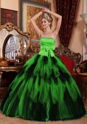 The Brand New Style Wonderful Puffy Strapless for 2014 Green and Black Quinceanera Dress with Bow and Beading