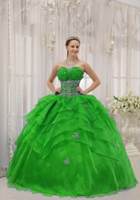 The Super Hot Puffy Strapless with Beading and Ruffles for 2014 Green Quinceanera Dress