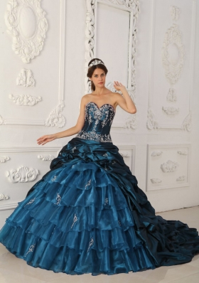 2014 Ball Gown Sweetheart Appliques Quinceanera Dress with Court Train