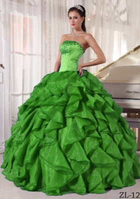 2014 Green Puffy Strapless with Ruffles and Beading Quinceanera Dress