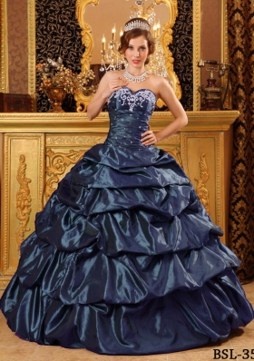2014 Navy Blue Sweetheart Appliques Discount Quinceanera Gowns