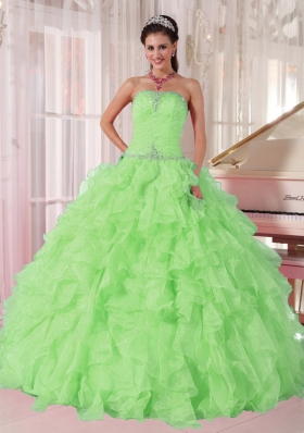 2014 New Spring Green Strapless Ruffles and Beading for Quinceanera Dresses