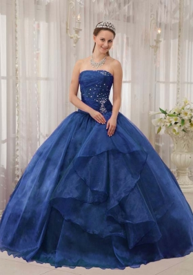2014 Pretty Strapless Beading Puffy Quinceanera Dresses