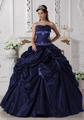 2014 Princess Navy Blue Strapless Long Appliques Quinceanera Dresses