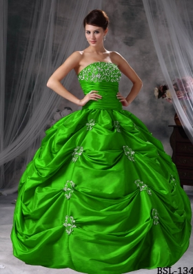 Affordable Puffy Strapless with Pick-ups and Appliques Quinceanera Dress for 2014