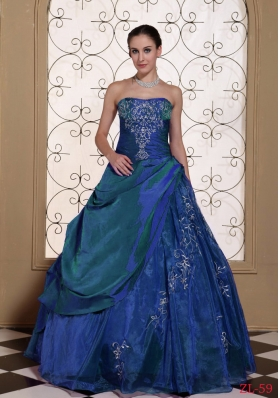 Affordable Strapless Embroidery 2014 Quinceanera Dresses For Military Ball