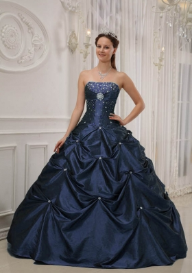 Cheap Puffy Beading Quinceanera Dress in Navy Blue