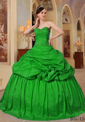 Classical Green Puffy Sweetheart with Pick-ups and Beading Quinceanera Dress for 2014