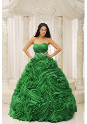 Classical Green Sweetheart Beaded and Hand Made Flower for 2014 Quinceanera Dress