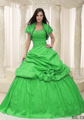 Classical Sweetheart Appliques Lace Up For Quinceanera Dress with Pick-ups