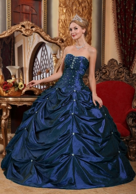 Elegant Strapless Beading Puffy Quinceanera Dresses for Military Ball