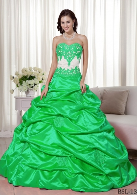 Fashionable A-line Sweetheart with Appliques and Pick-ups for 2014 Quinceanera Dress